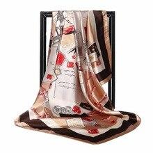 C Ретро шарф для женщин винтажный штамп шелковый шарф с рисунком женские мягкие атласные большие квадратные шарфы Новая мода шаль Хиджаб