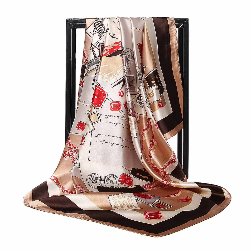 C Retro Scarf For Female Vintage Stamp Pattern Silk Scarf Women Soft Satin Large Square Scarves New Fashion Shawl Hijab
