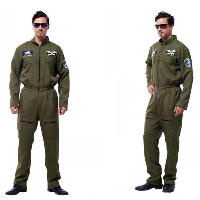 Men Pilot Aviator Cosplay Halloween Policeman Special forces Costumes Easter Purim Carnival Masquerade Party Camouflage dress