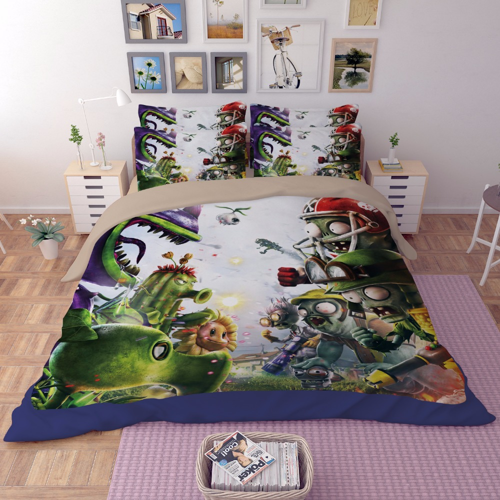 Luxury Duvet cover sets 3D Plants vs Zombies painting bedclothes kids boy bedding sets full queen