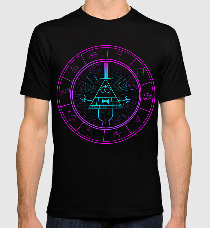 Retro 100% Cotton Prin T Shirt Tee Fashion Short O-Neck Mens Gravity Falls Bill Cipher T ...