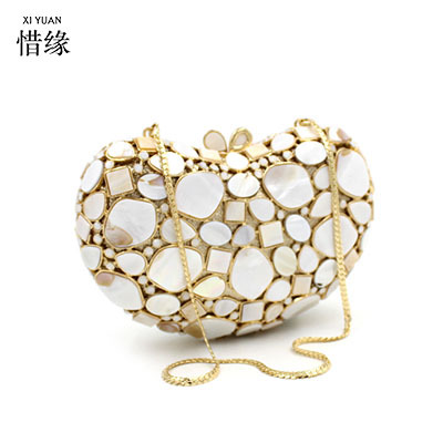 XIYUAN BRAND Fashion Crystal Clutch Bag Gemstone High Quality Lady Party Evening Handbag Women Mini Shoulder Purses With Chain