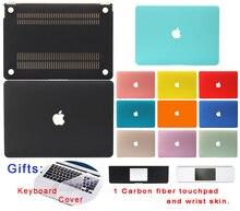 Matte fall für macbook air 11 13 pro 13 15 12 retina hart Bereifte Abdeckung Schutz Tastatur Dünne Schwarz Blau Rot Grün Shell Tasche