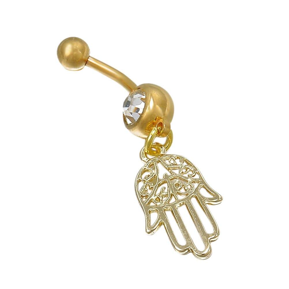 Wholesales חדש זהב כסף מצופה Stainess פלדת יד קריסטל טבור טבעת טאסל להתנדנד טבור גוף תכשיטי פירסינג