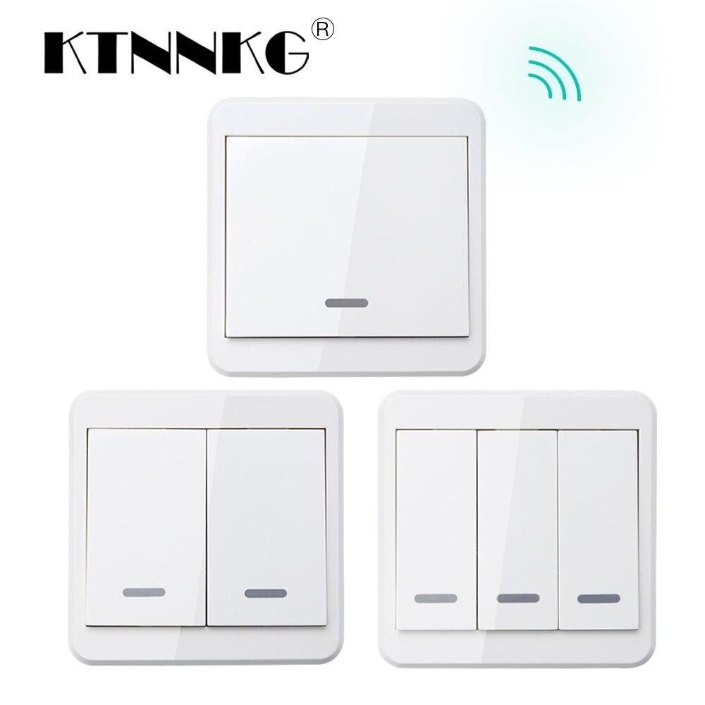 KTNNKG 433 MHz télécommande universelle sans fil 86 panneau mural émetteur RF avec 1 2 3 boutons pour interrupteur d'éclairage de la maison