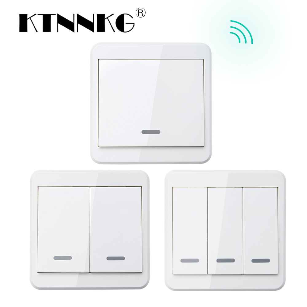 KTNNKG 433MHz Universal Wireless Remote <font><b>Controls</b></font> 86 Wall Panel RF Transmitter With 1 2 3 Buttons for Home Room Lighting Switch image