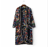 2017 Ethnic Embroidery Tassel Shirt Printing New Summer Long Sleeve Fringe Cardigan Blouse Tops Shirt Blusas