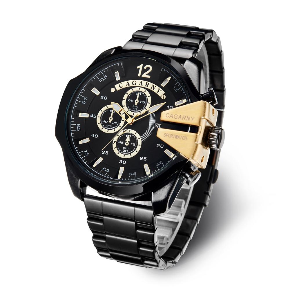 Top Luxury Brand Cagarny Men Watch Black Gold Stainless Steel Men's Business Quartz Wrist Watches Man Clock Military Relogio New