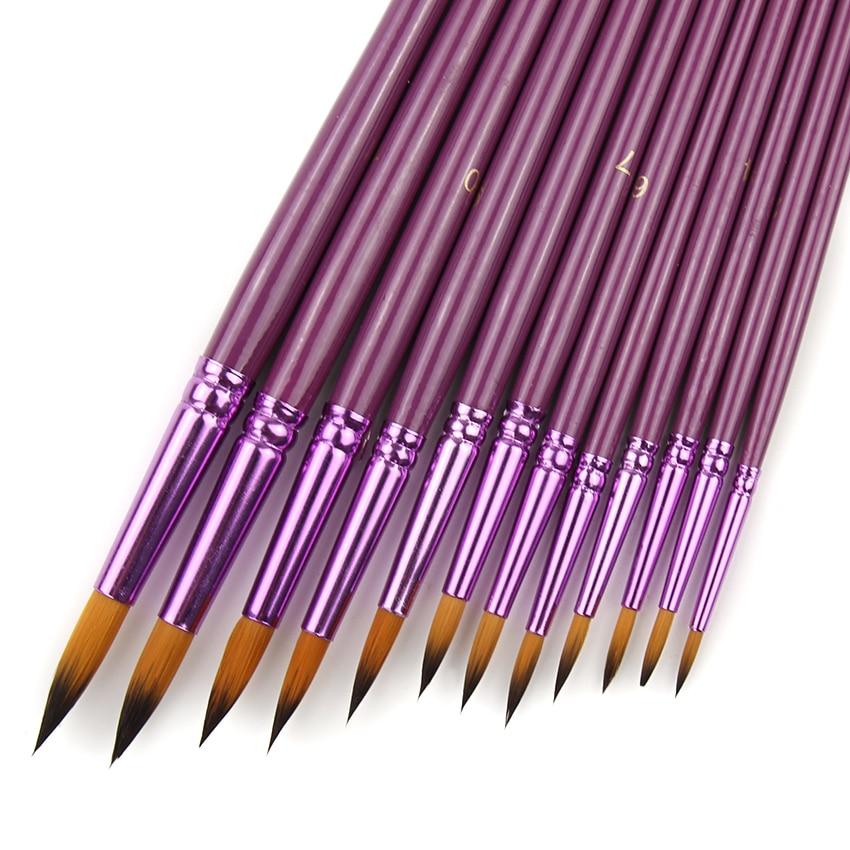 Набор кистей из нейлона для рисования акварелью, 12 шт./лот
