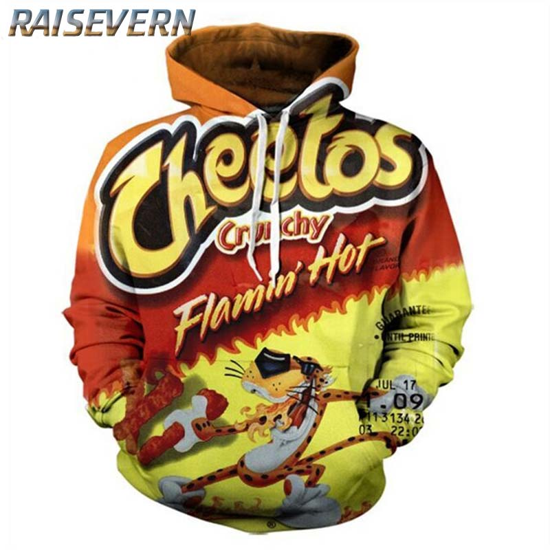 RAISEVERN Flamin Hot Cheetos Print Hoodie Men Hoody Male Long Sleeve Hooded Mens Sweatshirt Hoodies Tracksuit Sweat Coat Casual