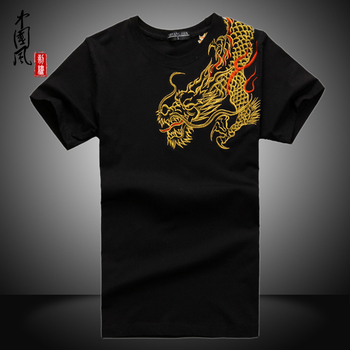 New Arrival China National Wind Dragon embroidery shirts kung fu Shirt tops Summer short-sleeve High-quality cotton t shirt Платье