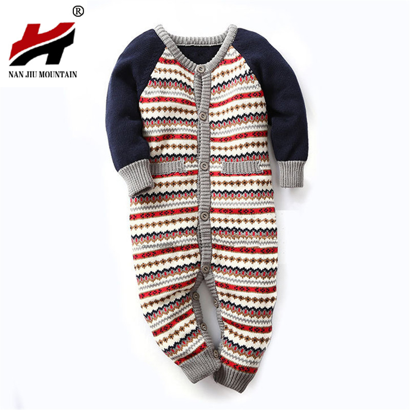 Baby Clothes Newborn Baby Romper Winter Baby Girl Boy Clothes Costume Overalls Striped Sweater Snowsuit Ropa