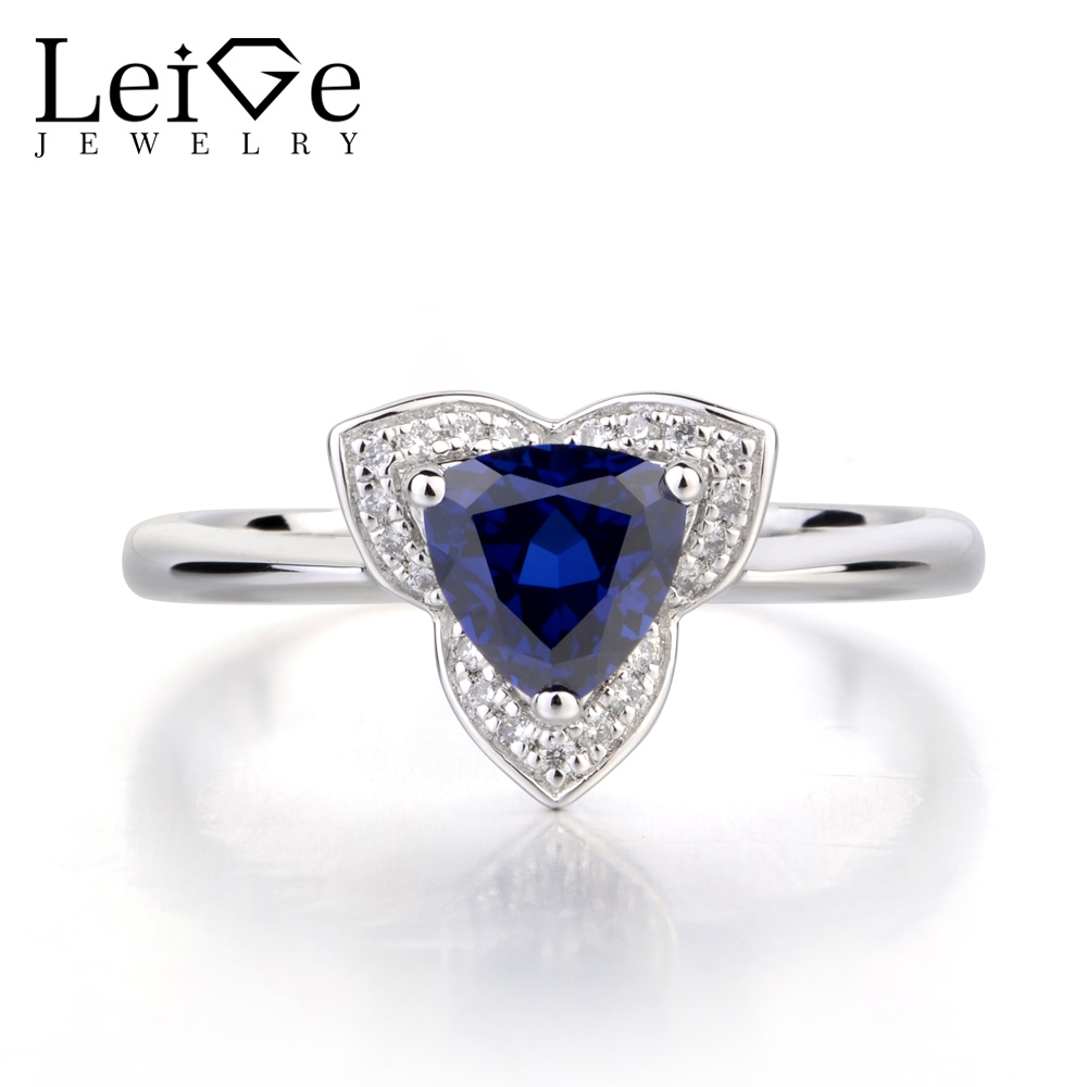 Leige Jewelry Lab Blue Sapphire Romantic Promise Ring Solid 925 Sterling Silver Trillion Cut Gemstone September Birthstone Ring leige jewelry oval cut lab blue sapphire promise ring 925 sterling silver ring gemstone september birthstone halo ring for her