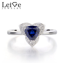 Leige Jewelry Lab Blue Sapphire Romantic Promise Ring Solid 925 Sterling Silver Trillion Cut Gemstone September Birthstone Ring