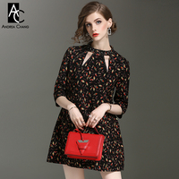 spring autumn woman dress yellow pink red colorful leaf pattern print dress hollow out beading collar black mini plus size dress