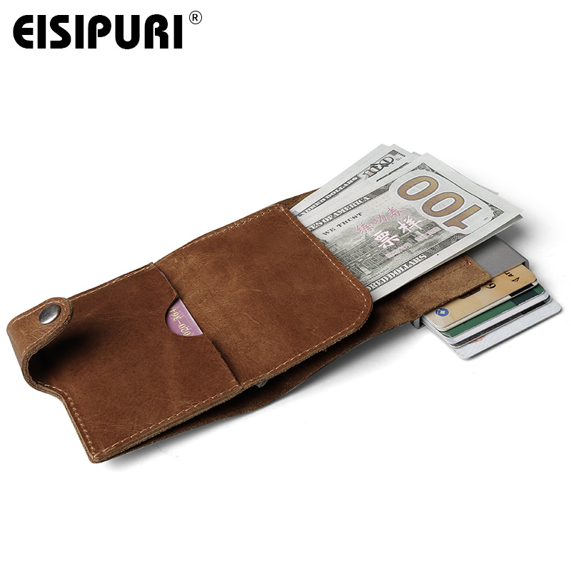 Men Prevents RFID Information Leakage 100% Genuine Leather Mini Wallet Safe Multifunction Aluminum Automatic Pop Up Card