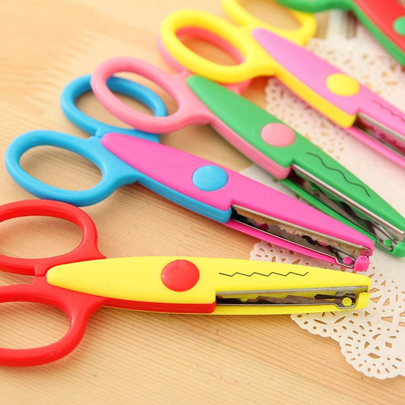 Coloffice 1PC Candy Color Scissors DIY Cut Album Lace For Kid Safe Card-Pattern Scissors Multipurpose School Office Supplies
