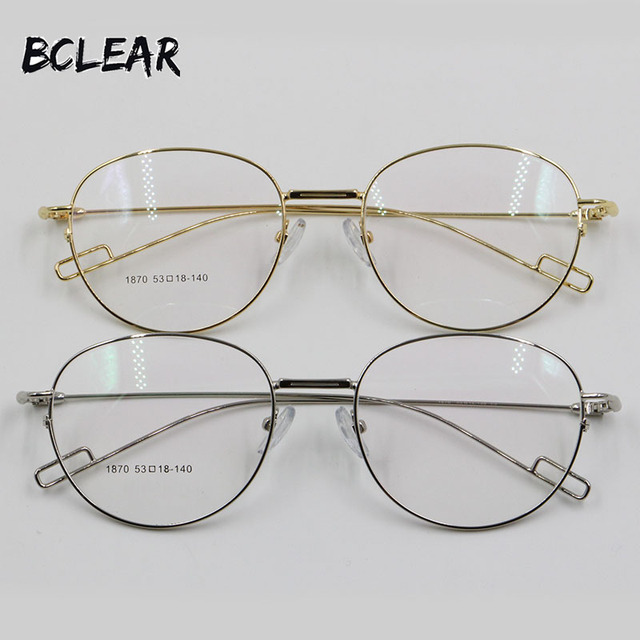 7961d2dad7 BCLEAR Fashion retro oval alloy unisex optical frame gold silver men women  full spectacle frame eyeglass new arrival 1870