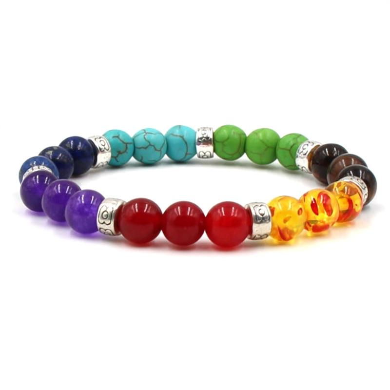 NIUYITID Colorful Beaded Chakra Bracelet Men With Natural Lava Stone Beads Yoga Hologram Braclet Women Men Jewelry