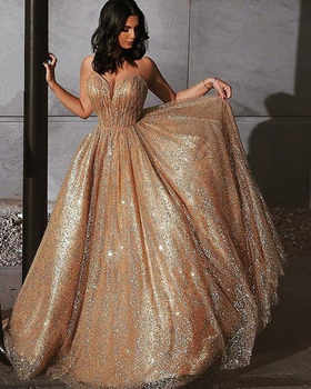 Gorgeous Sequin Robe De Soiree 2019 Champagne Women Vintage Evening Formal Dresses Sexy Spaghetti Strap Backless Long Prom Gowns