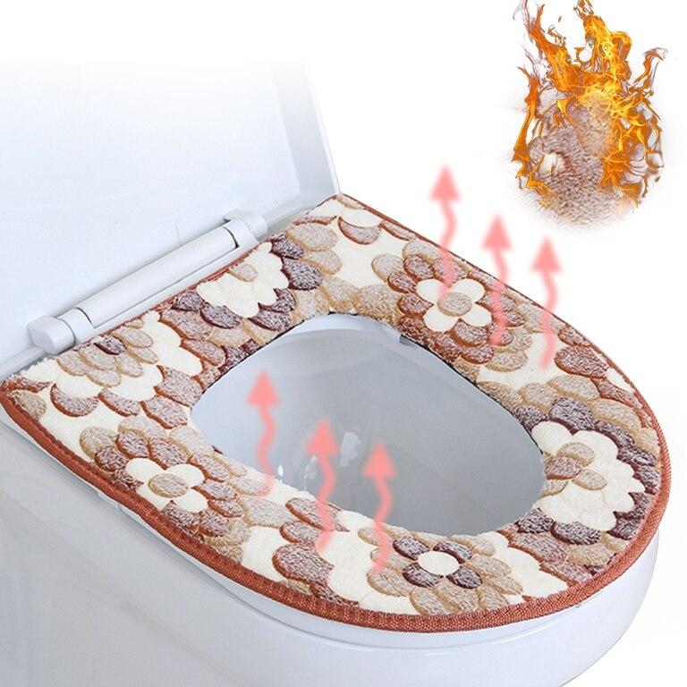 U ประเภทเสื่อห้องน้ำฤดูหนาวหนาขนแกะปะการังห้องน้ำที่นั่งห้องน้ำ Universal ห้องน้ำเบาะอุปกรณ์เส...