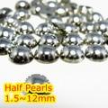 Color plata Hematite 1.5mm ~ 12mm Todo el Tamaño Bien Escogido de la parte posterior Plana ABS ronda la Media Perla de perlas, imitación plástica de la media perla perlas