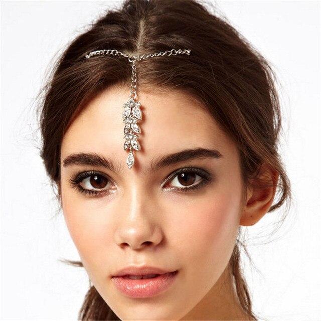 Indischen Stil Silber Farbe Haar Zubehor Clear Kristall Stirn Haar
