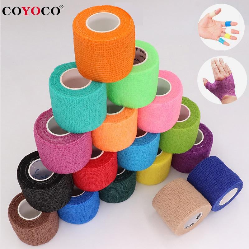 COYOCO renkli spor kendinden yapışkanlı elastik bandaj sarma bandı 4.5m Elastoplast diz destek pedleri parmak ayak bileği palmiye omuz