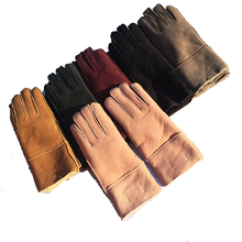 Women Winter Leather Gloves Pink Color. 2018 Warm Mittens gloves women driving guantes mujer luvas de inverno N12