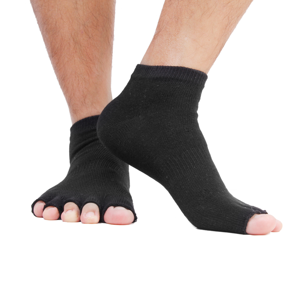 1 Pair Black Unisex Five Fingers Open Toe Socks Mens Ankle Socks For Men Women Anklet Grip Gym Yoga Pilates Chaussette