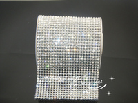 24Row 120cm Hotfix Crystal Rhinestone Ribbon trimming Cloth Appliques for Bling Wrap Party Wedding Decoration