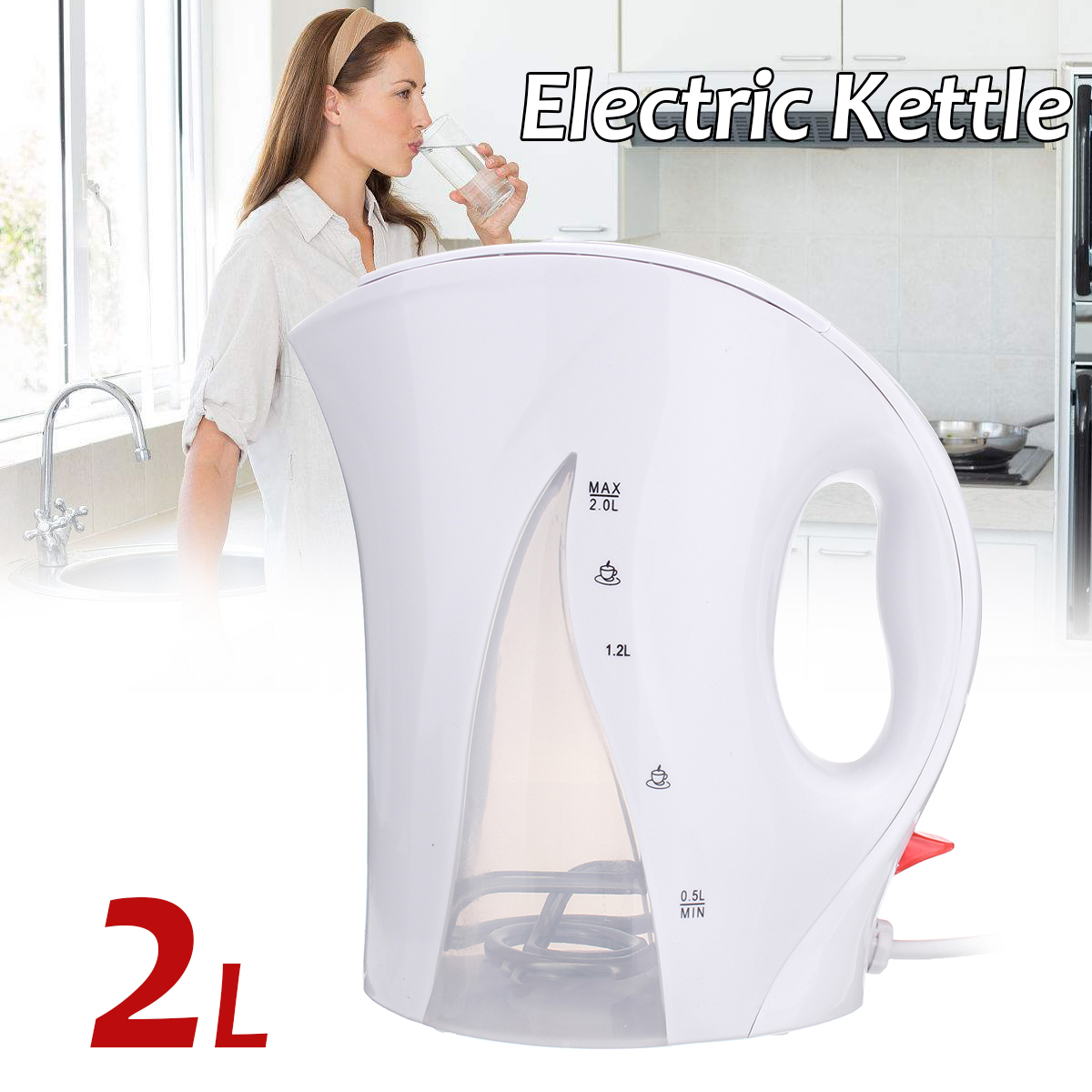 2L 1850-2200W Mini Electric Hot Water Kettle 220V Household Kitchen Travel Camping Portable Water Heating Boiler Heater Kettles цена и фото