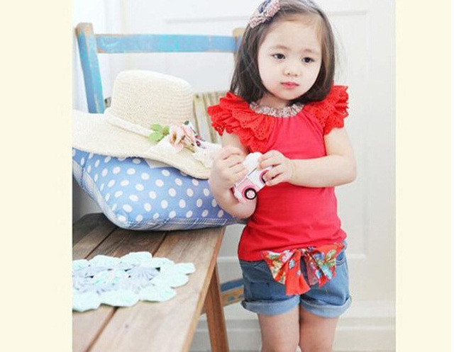 kids clothes 2015 solid color t shirt denim shorts girls clothes lovely baby girl set - Vetement Color