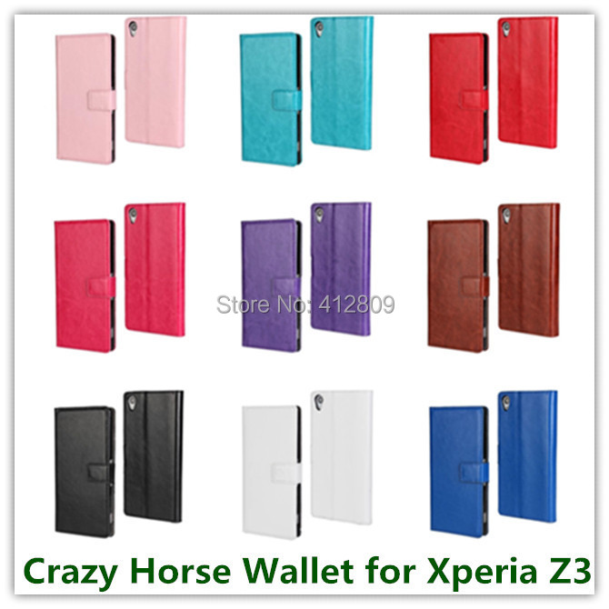 1PCS Elegant PU Leather Crazy Horse Skin Cover Pouch Back Skin Protector Case for Sony Xperia Z3 Cellphone Bags Free
