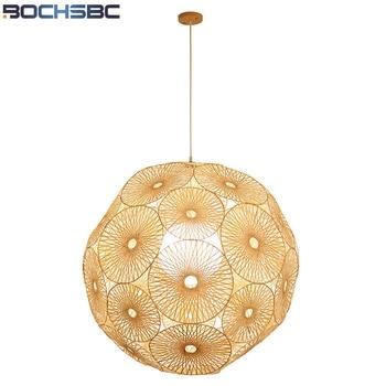 BOCHSBC El Yapımı Bambu Rattan Kolye Işıkları Oturma Odası Yemek Odası için Basit Tükenmez Tasarım Abajur Asılı Led lamba ışığı