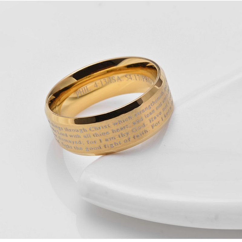AMGJek 8mm Christian Bible Ring Cross Titanium Steel Black Gold Silver Color Men Wedding Rings Prayer Jewelry
