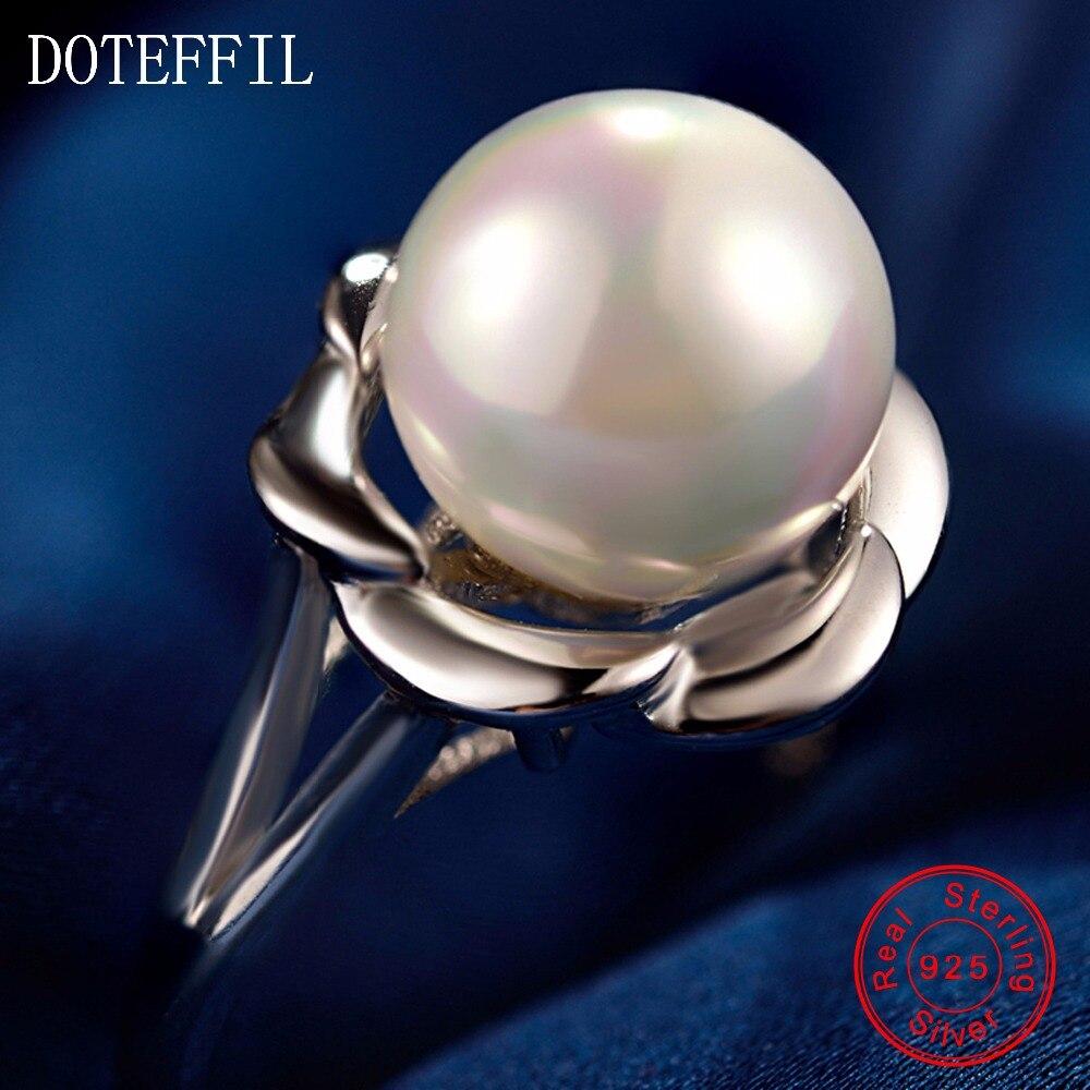 Charm Flower Ring Woman 925 Sterling Silver Fashion Vysoce kvalitní AAA 10mm perlová žena šperky