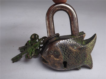 3.6L Rare Old collection Tibet Features Mantra Shape of a fish Copper lock