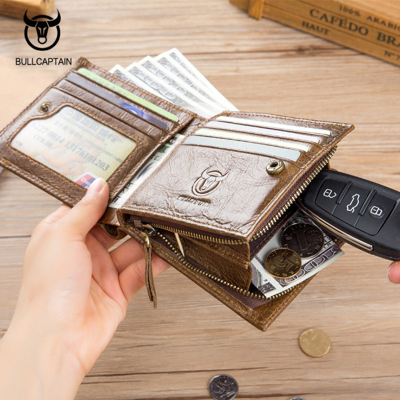 BULLCAPTAIN 2018 New Genuine Leather Men Wallet Fashion Vintage Zipper Hasp Male Short Men Wallets Coin Purse Brand More Styles in Wallets from Luggage Bags
