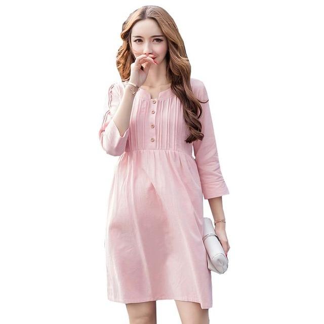 81a83ec7a Mujeres Sólido de Color Rosa Plisado Vestido de Verano de Algodón De  Enfermería de maternidad Lactancia