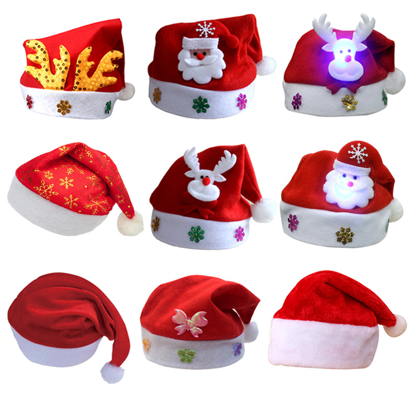f48e390d9 US $3.39 |LED flashing Christmas Hat Santa Reindeer Hat New Year Hat For  Children Party Props Decorations Accessories Caps Xmas Adult Hat -in ...