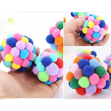 Hoomall Pet Cat Toy Colorful Handmade Bells Bouncy Ball Built-In Catnip Interactive Toy Rattle Bouncy Ball Pet Supplies 2018 New