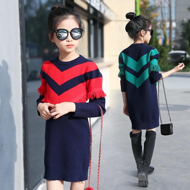 Girls Sweaters Knit Tassel Sweater Dresses Kids Girls Knitting Fashion Jumper Dress Kid Verkleed Kostuum Meisjes Clothes YL468