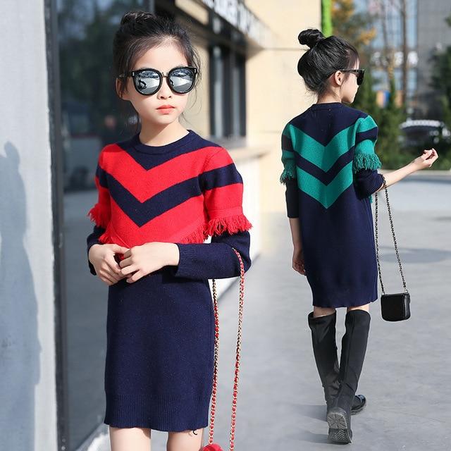 13e906c0 Girls Sweaters Knit Tassel Sweater Dresses Kids Girls Knitting Fashion  Jumper Dress Kid Verkleed Kostuum Meisjes Clothes YL468
