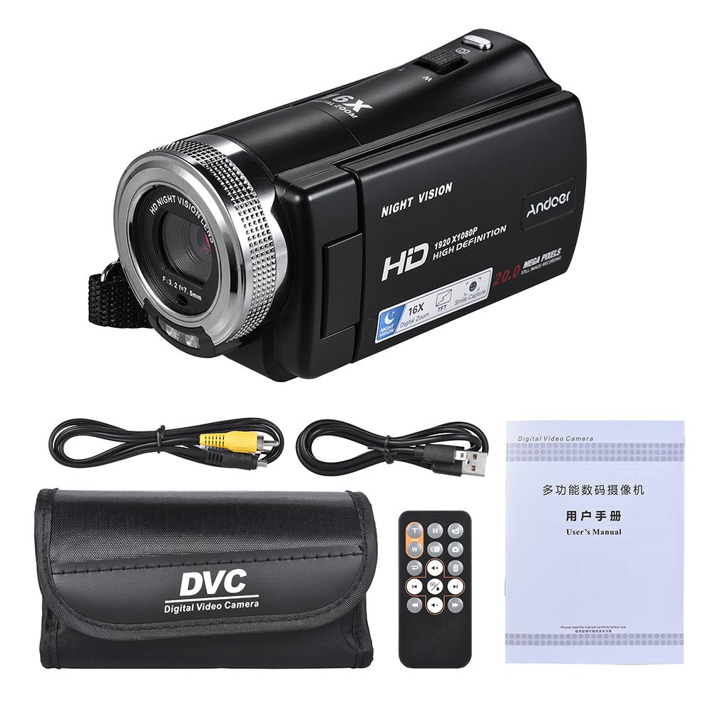 V12 1080P Video Camera Full HD 16X Digital Zoom Recording Camcorder W/3.0 Inch Rotatable LCD Screen Support Night Vision R20