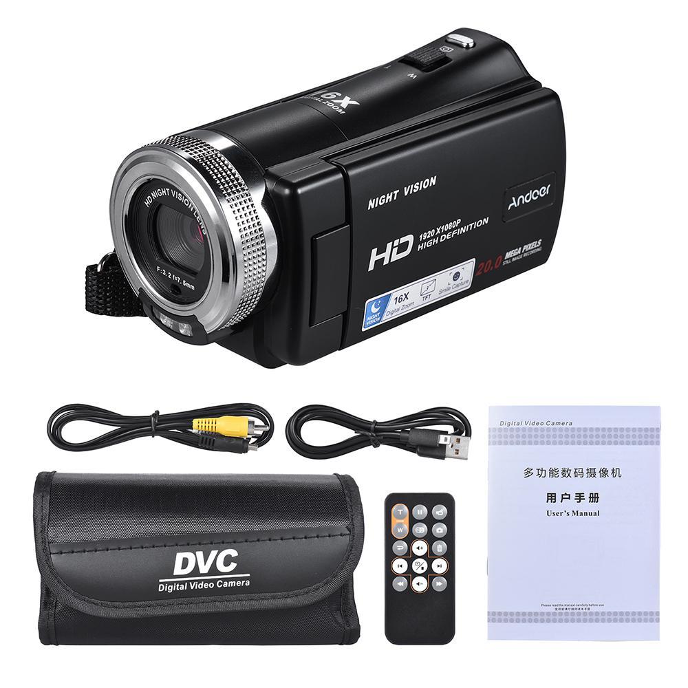 V12 1080P видеокамера Full HD 16X цифровой зум запись видеокамера с 3,0 дюймовым поворотным ЖК-экраном Поддержка ночного видения r20