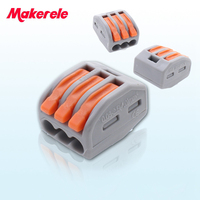 (25 pieces/lot) Makerele 222-413 Universal Compact Wiring 3 pin Wire Connector Conductor Terminal Block With Lever AWG 28-12
