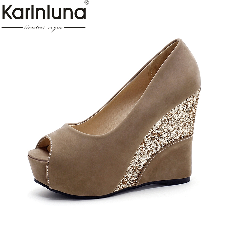 KARINLUNA brand shoes large size 33-43 top quality pumps women shoes sexy wedge high heels peep toe bride wedding shoes woman romyed bridals wedding shoes kim kardashian pumps superstar shoes top quality flowers evening christian shoes size 4 16 shofoo