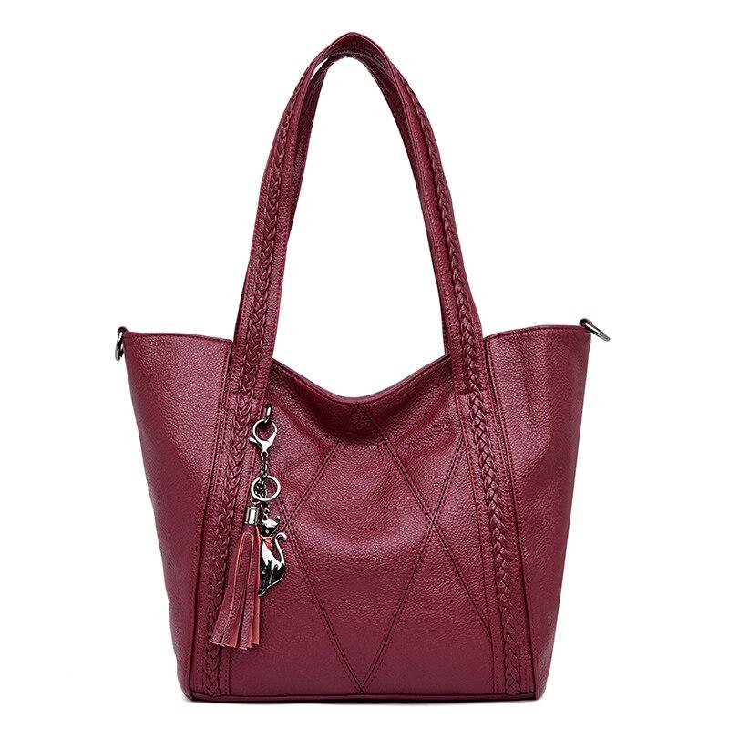 New Leather Tassel Large Capacity Women Shoulder Bag Messenger Bag Female Handbag Famous Big Bags Designer Handbags High Quality гантель профи mb barbell черная 23 5 кг