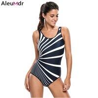 Aleumdr 2017 Sexy One Piece Swimsuit Women Plus Size Swimwear Maillot De Bain Femme Monochrome Oblique